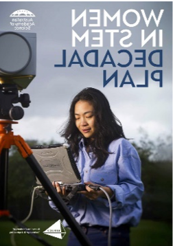 该 cover of the Women in STEM decadal plan. It includes a researcher working in the field holding a laptop